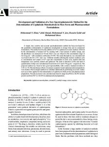 Development and Validation of a New Spectrophotometric Method for ...