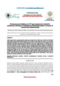 Development and validation of a UV spectrophotometric method for ...