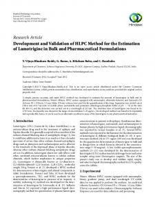 Development and Validation of HLPC Method for the Estimation of ...