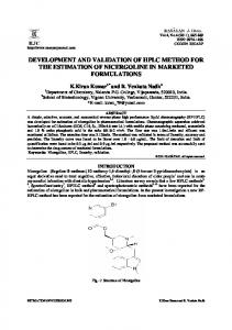 development and validation of hplc method for the estimation of ...