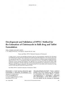 Development and Validation of HPTLC Method for the Estimation of ...