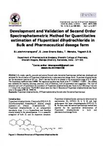 Development and Validation of Second Order Spectrophotometric ...