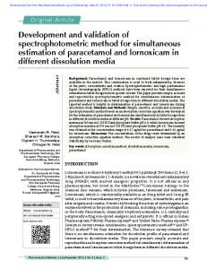 Development and validation of spectrophotometric method for