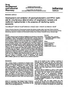 Development and validation of spectrophotometric