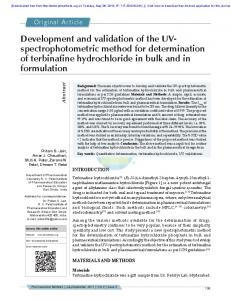 Development and validation of the UV- spectrophotometric method for ...