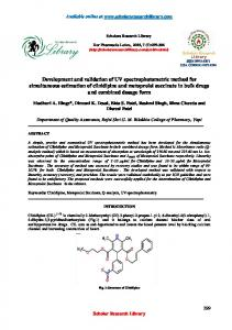 Development and validation of UV spectrophotometric method for ...
