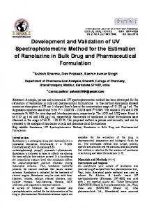 Development and Validation of UV Spectrophotometric Method for the ...