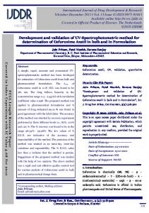 Development and validation of UV-Spectrophotometric method for