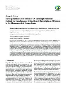 Development and Validation of UV Spectrophotometric Method for