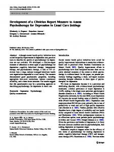 Development of a Clinician Report Measure to Assess Psychotherapy ...