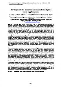 Development of a framework to evaluate the hybrid water ... - MSSANZ