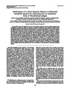 Development of a Gene Reporter System in Moderately Halophilic ...