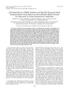 Development of a Highly Sensitive and Specific Enzyme-Linked ...