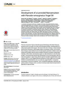 Development of a Larvicidal Nanoemulsion with