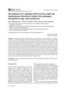 Development of a multiplex PCR assay for rapid and ... - ScienceAsia