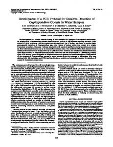 Development of a PCR Protocol for Sensitive Detection of ...