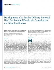 Development of a Service Delivery Protocol Used for Remote ...