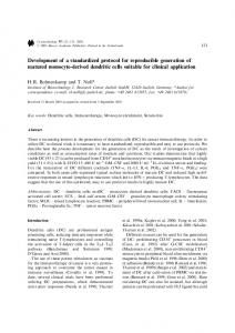 Development of a standardized protocol for reproducible generation of ...