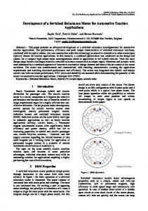 Development of a Switched Reluctance Motor for Automotive Traction ...
