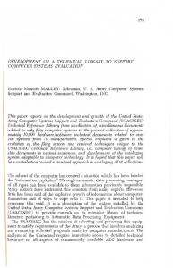DEVELOPMENT OF A TECHNICAL LIBRARY TO SUPPORT ...