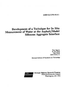 development of a technique for in situ measurement of water
