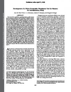 Development of a Water-Extractable Phosphorus Test ... - PubAg - USDA