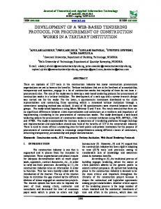 development of a web-based tendering protocol for procurement of ...