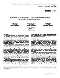 Development of Advanced Thermal Barrier Coatings ...