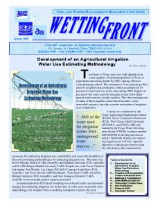 Development of an Agricultural Irrigation Water Use Estimating ...