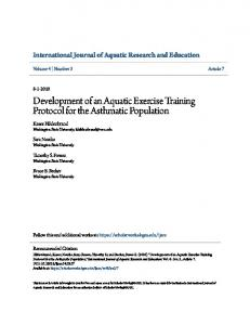 Development of an Aquatic Exercise Training Protocol for the
