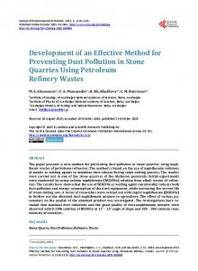 Development of an Effective Method for Preventing Dust Pollution in ...