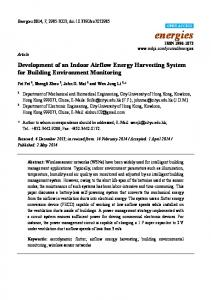 Development of an Indoor Airflow Energy Harvesting System ... - MDPI