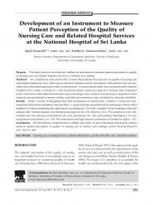 Development of an Instrument to Measure Patient Perception of the