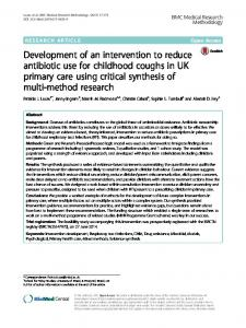 Development of an intervention to reduce antibiotic use for childhood ...
