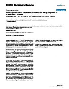 Development of an ultra-sensitive assay for early diagnosis of