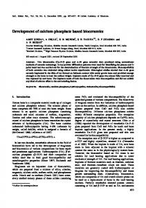 Development of calcium phosphate based bioceramics - CiteSeerX