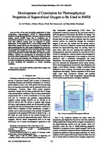 Development of Correlation for Thermophysical Properties of ...
