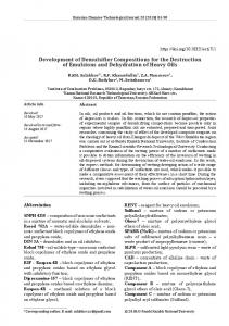Development of Demulsifier Compositions for the Destruction of