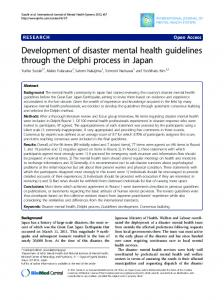 Development of disaster mental health guidelines ... - BioMedSearch