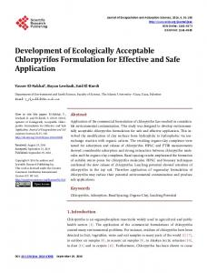 Development of Ecologically Acceptable Chlorpyrifos Formulation for ...
