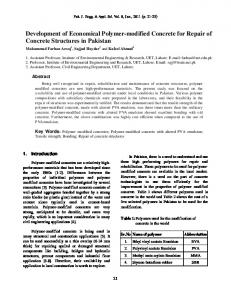 Development of Economical Polymer-modified Concrete for Repair of