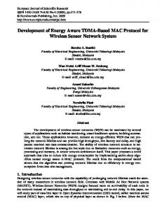 Development of Energy Aware TDMA-Based MAC ... - Semantic Scholar