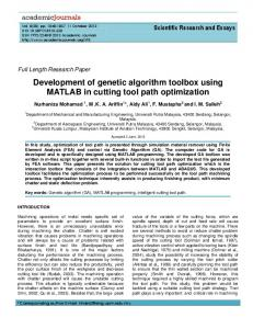 Development of genetic algorithm toolbox using ... - Semantic Scholar