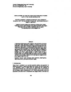 Development of high-voltage high-frequency power supply for ozone ...