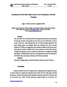 Development of Hot Water Solar Oven for Low Temperature Thermal
