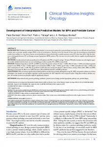 Development of Interpretable Predictive Models for BPH and Prostate ...
