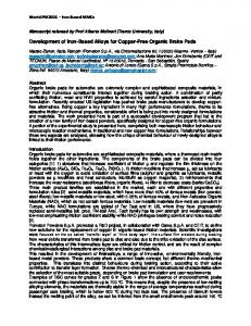 Development of Iron-Based Alloys for Copper-Free ...