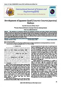 Development of Japanese Quail (Coturnix Coturnix Japonica) Embryo