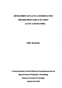 DEVELOPMENT OF LACTIC ACID PRODUCTION ...