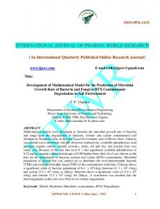 Development Of Mathematical Model To Predict The